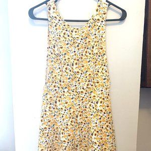 Yellow and White Floral Sleeveless Skater Dress